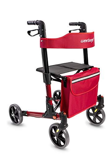 Weinberger leicht und klappbarer Rollator/aus Aluminium/nur 7,3 Kg/mit Zubehör/Farbe: Rot/Modell: 46437