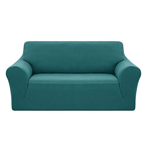 Deconovo Jacquard Sofahusse Couch husse Sofabezug Sofaüberwurf 145-175 cm Türkis 2-Sitzer