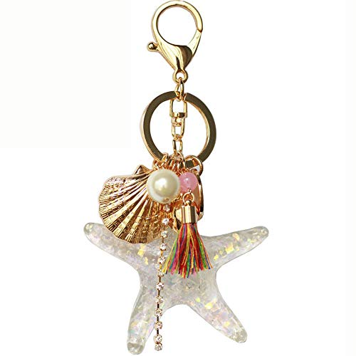 Bolbove Pearl Starfish Shell Tassel Keychain Keyring Crystal Rhinestones Purse Pendant Handbag Charm