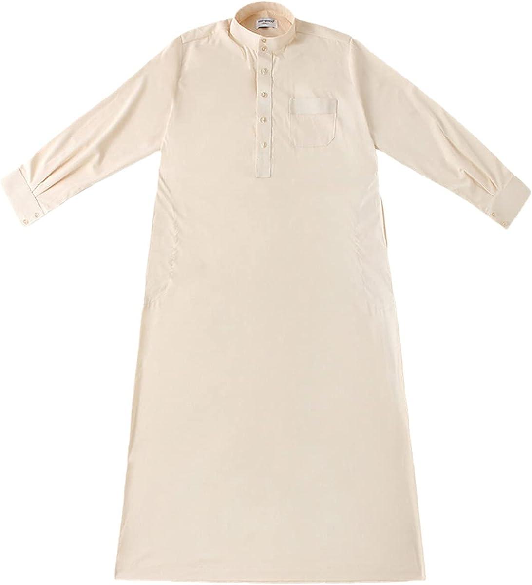 KEHAIOO Abaya Muslim Pakistan Islamic Dress Kaftan, Mens Arab Robe Saudi Arabia Jubba Thobe