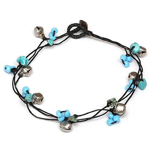 Idin Handgemachtes Fußband - Türkise Perlen und Glöckchen auf gewachsten Fäden (ca. 24 cm)