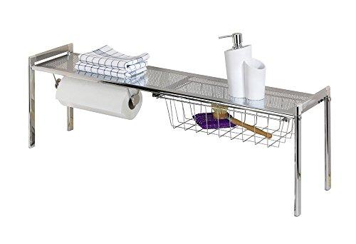 WENKO Spülbeckenregal Exquisit - mit Küchenrollenhalter, 93 x 30 x 21,5 cm, silber glänzend