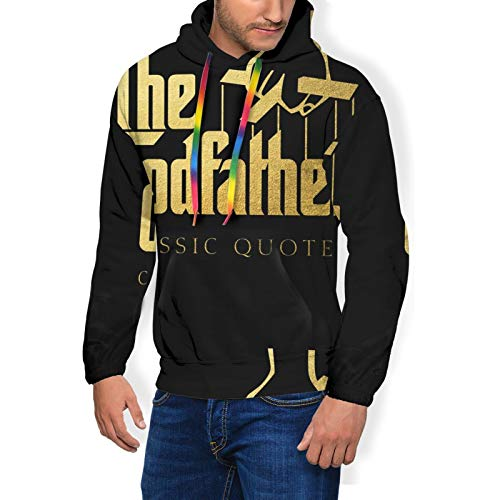 Huatansy Men Sport Hoodie Sweater Godfather Novelty Hooded Long Sleeve With Brushed Black