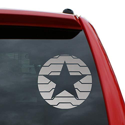 "Winter Soldier Logo - Bucky Barnes Vinyl Decal Sticker | Color: Metallic Silver | 5"" x 5"" -  Black Heart Decals & More, BHDM-X2071-ms"