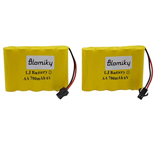 Blomiky 2 Pack 6.0V 700mAh Ni-cd Rechargeable AA Battery Pack SM 2P Plug for RC Cars Truck Cars 6V 700mAh Yellow 2