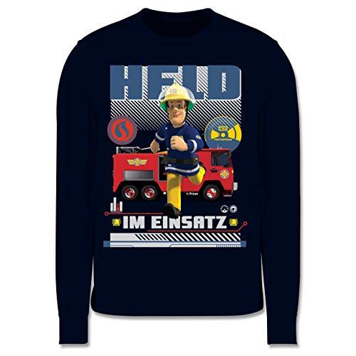 Shirtracer Feuerwehrmann Sam Jungen - Held im Einsatz - 140 (9/11 Jahre) - Navy Blau - sam Pullover Jungen - JH030K - Kinder Pullover