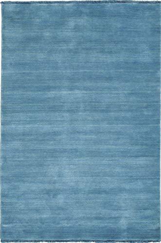 CarpetVista Alfombra Handloom Fringes, Pelo Corto, 80 x 120 cm, Rectangular, Moderna, Lana, Cocina, Salón, Comedor, Azul Pálido