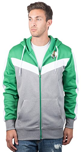 Ultra Game NBA Boston Celtics Mens Soft Fleece Full Zip Jacket Hoodie, Team Color, Large