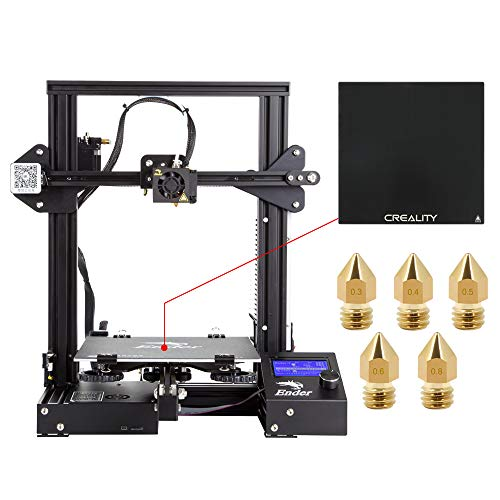 Comgrow Creality 3D DIY 3D Printer Ender 3 with Tempered Glass Plate and Five Nozzles 220x220x250mm Printing Size
