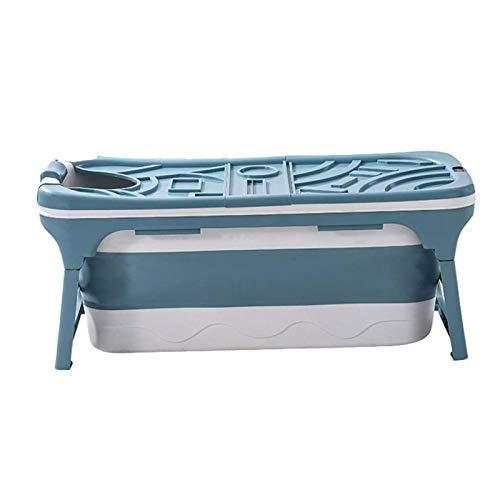 Adesign Bañera Plegable for Adultos Bañera Baño Barril de Cuerpo Completo sudoración Engrosamiento Gran bañera de hidromasaje, Sauna portátil Simples de la casa Ducha (Color : Blue)