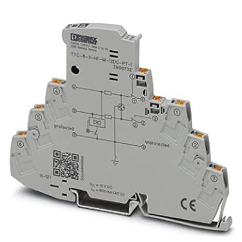 PHOENIX CONTACT TTC-6-3-HF-M-12DC-PT-I - Protector contra sobretensiones con indicador de estado integrado y separación de cuchillas para tres conductores de señal con potencial de referencia común