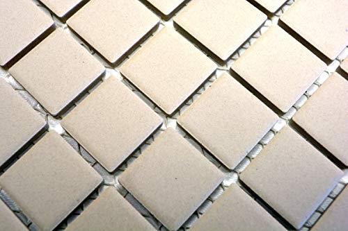 Handmuster Mosaik Fliese Keramik hellbeige unglasiert Duschtasse Bodenfliese MOS18B-1211-R10_m