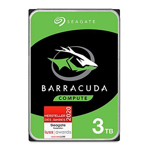 Seagate Barracuda, interne Festplatte 3 TB HDD, 3.5 Zoll, 5400 U/Min, 256 MB Cache, SATA 6 Gb/s, silber, FFP, Modellnr.: ST3000DMZ07, (Verpackung kann variieren)