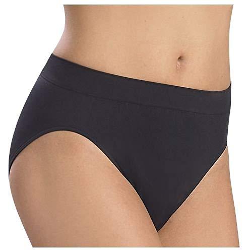 Barelythere Women's Solid  Microfiber Hi-Cut Panty, Black, 6/7