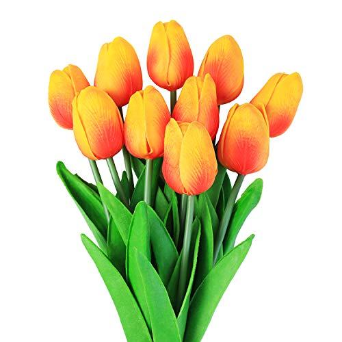 Veryhome Künstliche Blumen Gefälschte Blume Tulpe Latex Material Real Touch für Hochzeitszimmer Home Hotel Party Dekoration und DIY Decor ( Sonnenuntergang rot - 10Stück )