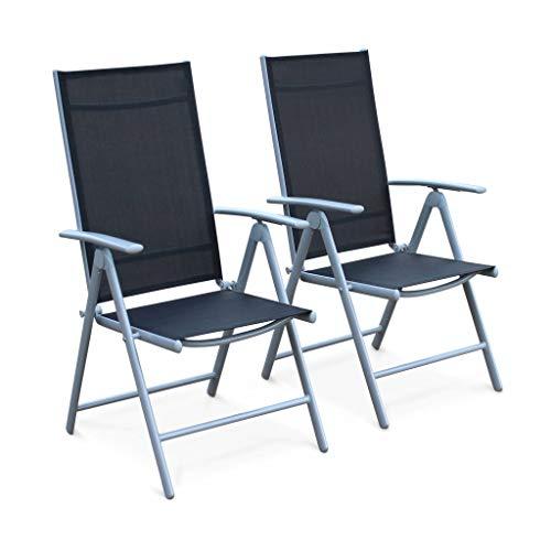 Alice's Garden Lot de 2 fauteuils Multi-Positions Naevia en Aluminium Gris et textilène Noir