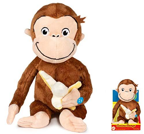 Play by Play - Peluche Curioso Come George Scimmia Curious con Banana in Mano e Suoni in Box - Marrone - 25cm
