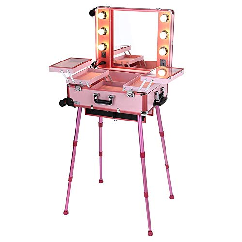 YQSHYP 6LEDs Makeup Station Train Case w/4 360°Removable Travel Wheels,Professional Studio Artist Lighted Rolling Cosmetic Box w/Mirror & Adjustable Leg,Xmas Gift for Hairstylist/Daughter