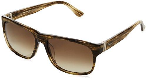 Salvatore Ferragamo Damen SF639S Rechteckig Sonnenbrille, Grau (319 Striped khaki)