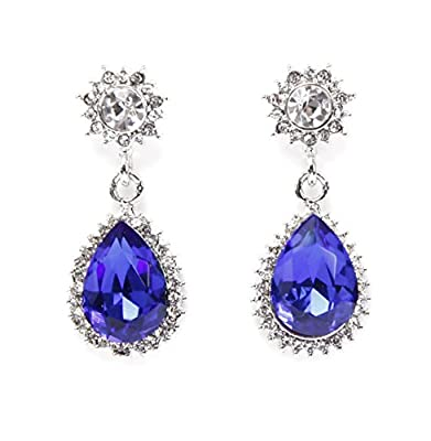 El Vincere Luxury Fashion Single Round Red/Blue Crystal Bridal Wedding Teardrop Dangle Earrings