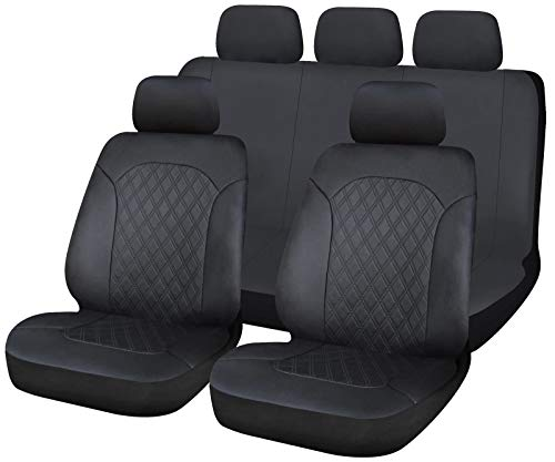 UKB4C Leatherette Full Set Front & Rear Car Seat Covers for Honda Civic Hatchback All Years