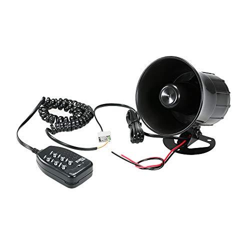 KKmoon Altavoz Bocinas Coche Sirena Alarma 12V 30W con 6 Tonos y Amplificador de Sonido de Emergencia