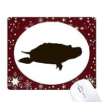 黒いカメ動物の描写 オフィス用雪ゴムマウスパッド
