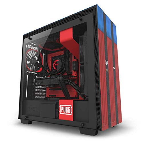NZXT H700 - Limited Edition PUBG ATX Mid-Tower PC Gaming Case - Tempered Glass Panel - Enhanced Cable Management System - Water-Cooling Ready - Red/Blue - 2018 Model