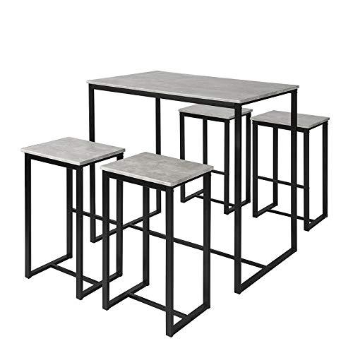 SoBuy OGT15-HG 5-teilig Bartisch mit Stühlen Esstisch Stehtisch Bistrotisch mit 4 Barhocker Sitzgruppe grau