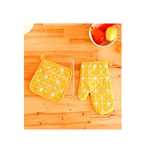 AniU Juego de guantes y agarraderas para horno, resistentes al calor, guantes de cocina, antideslizantes, de lino y algodón, con lazo para colgar, para cocina, parrilla, barbacoa, color amarillo