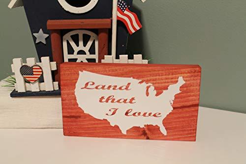 Ced454sy Land dat ik hou van houten bord plank sitter 4 juli 4 Amerika Verenigde Staten Verenigde Staten kaart Patriottische