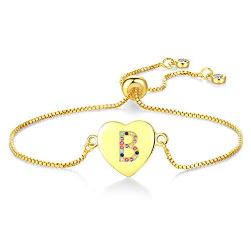 Kebaner Women Girl B Letter Monogram Script Heart Alphabet Link Multicolor Zircon CZ Initial Bracelet Gold B C Gold Bracelets