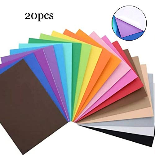 LINVINC 20 Hojas Cartulinas adhesivas de colores A4 - Manualidades DIY Scrapbook Tarjetas,Pegatinas Autoadhesivas Brillantes de 20 Colores aleatorios(20 * 30 cm)