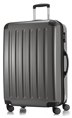HAUPTSTADTKOFFER - Alex -  4 Doppel-Rollen Großer Hartschalen-Koffer Koffer Trolley Rollkoffer Reisekoffer, TSA, 75 cm, 119 Liter, Titan