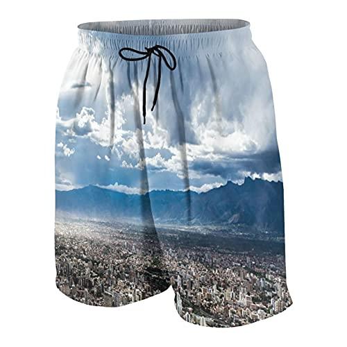 NOLOVVHA Hombres Personalizado Trajes de Baño,Ciudad de Cochabamba Bolivia,Casual Ropa de Playa Pantalones Cortos