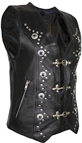 Damen Lederweste, Bikerweste, Motorradlederweste, Clubweste, Chopperweste, Rocker Weste, Kutte, Vest, Leather Vest, Leather Waistcoat (XL)