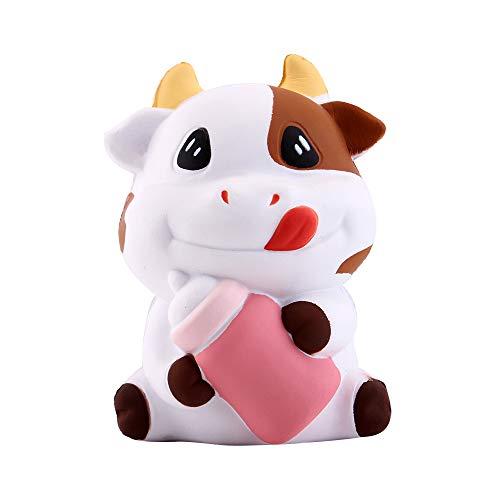 Anboor 3.1 'Squishies Vaca Kawaii Botella de Leche Suave Crecimiento Lento Perfumado Animal Squishies Alivio para el estrés Juguetes para ni?os