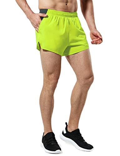 TSLA Men's Active Running Shorts, Training Exercise Workout Shorts, Quick Dry Gym Athletic Shorts with Pockets, 4 Inch(mbh24) - Neon, X-Large