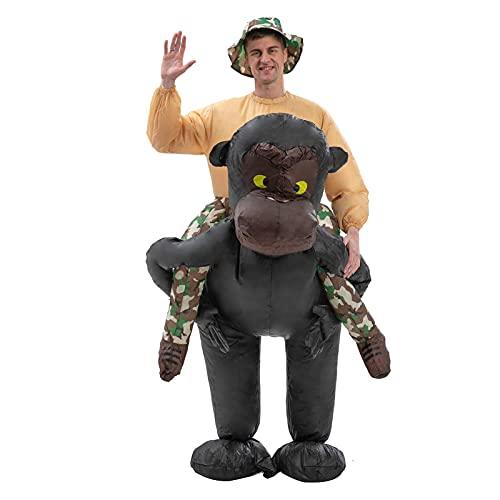 Aufblasbares Gorilla-Kostüm für Erwachsene, aufblasbares Orang-Utan-Anzug, lustiges Reiter-Kostüm für Party, Halloween, Weihnachten, Cosplay (schwarz)