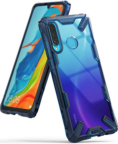 Ringke Fusion-X Designed for Huawei P30 Lite Case Protection Shock Absorption Cover for Huawei P30 Lite, Huawei Nova 4e Case - Space Blue