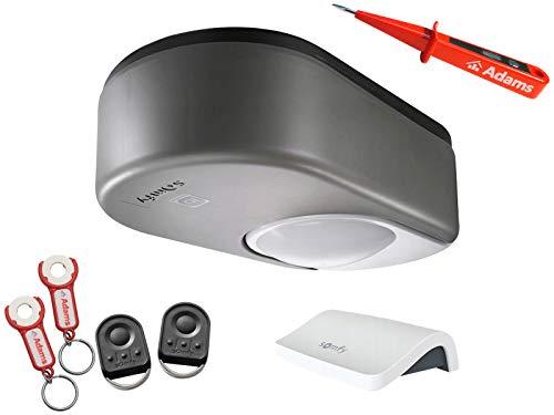 Somfy Dexxo Pro 800 3S io Garagentorantrieb + 2x 4-Befehl Handsender KeyGo io mit ADAMS Anhänger Set Connexoon + ADAMS Stromprüfer