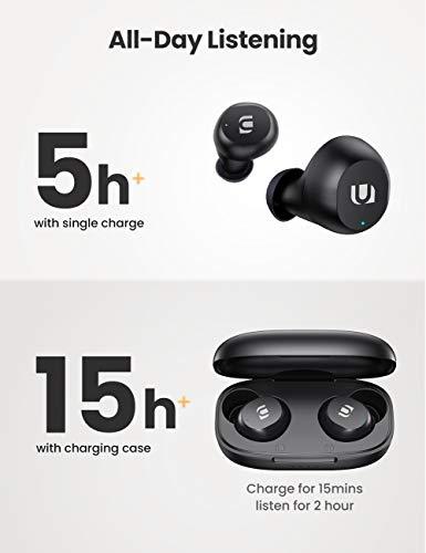 UGREEN Hitune Lite Auriculares Inalámbricos, HiFi Estéreo Auriculares Bluetooth 5.0 con Bajo Profundo, Mic Incorporado, Mini TWS Auriculares Deportivo IPX5 Impermeable, 15H Reprodución, Control Táctil