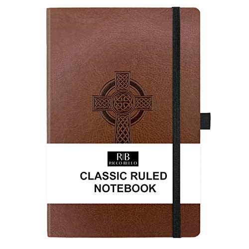 RICCO BELLO College Ruled Hardcover Journal - Vegan Leather, Elastic Closure, Pen Loop, Bookmark, Inner Pocket, 192 Lined Pages, 5.7 x 8.4 inches (Cross)