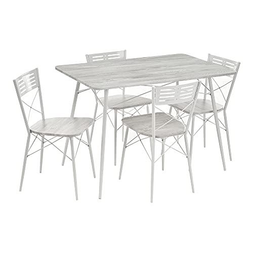 Conjunto Mesa y 4 sillas de Comedor de Metal y MDF nórdico Gris y Blanco - LOLAhome