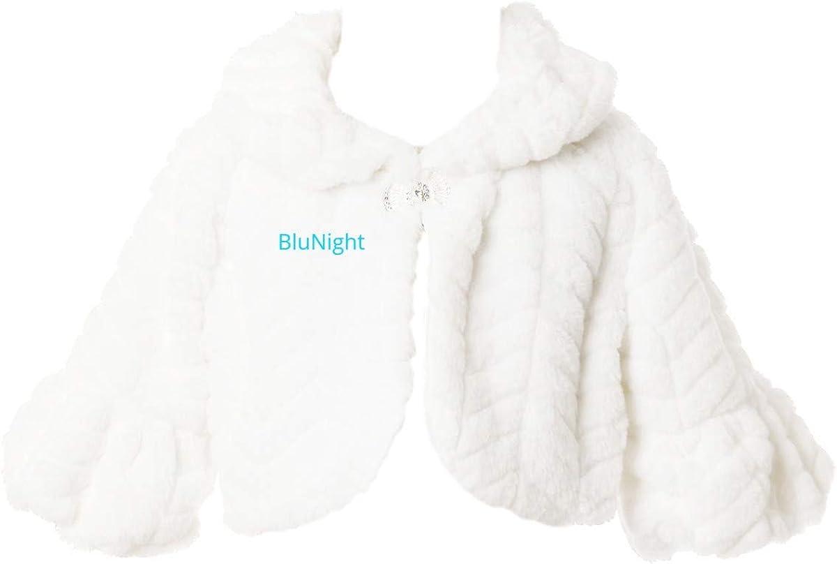 BluNight Collection Little Girls Dress Coat Soft Faux Fur Winter Outerwear Cape Shrug Jacket 2-12