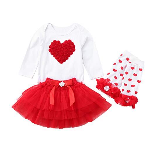 Poachers Poachers Neugeborene Baby Mädchen Herz Strampler Tops + Tutu Tüll Rock Valentine Outfit Set