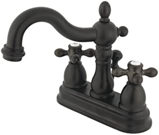 Kingston Brass KB1605AX Heritage 4-Inch Centerset Lavatory Faucet with Metal Cross Handle, Oil Rubbed Bronze