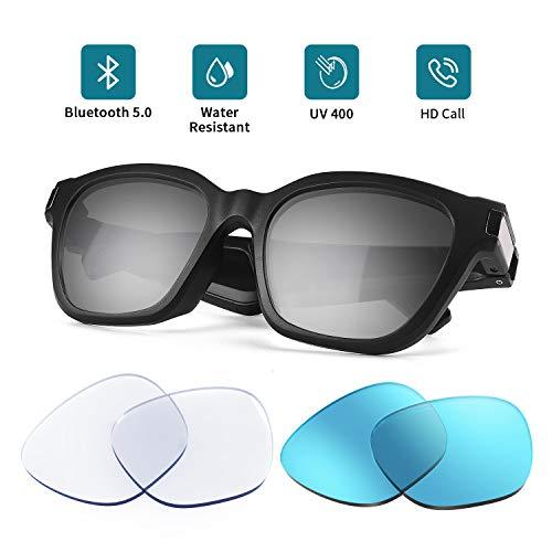 JIRVYUK Bluetooth Audio Smart Sunglasses ,Bluetooth Sunglasses,Audio Sunglasses with Open Ear Headphones, UV Ray Protection Lens,with Anti Blue Light Lens and Blue Sunglasses Lens