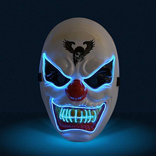 KATELUO Purge Maske,led Maske,Halloween Maske,Masken Fasching,Geeignet für Karnevalsaktivitäten der Halloween-Horrorparty, 3 Arten von Flash-Effekten (Blau)
