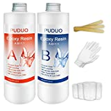 Epoxy Resin Casting and Coating Starter Kit for Art, Jewelry, Crafts, Keychain - 32 OZ Including 16OZ Resin and 16OZ Hardener with Tool Kit 4 pcs Measuring Cups, 3pcs Sticks, 1 Pair Rubber Glove